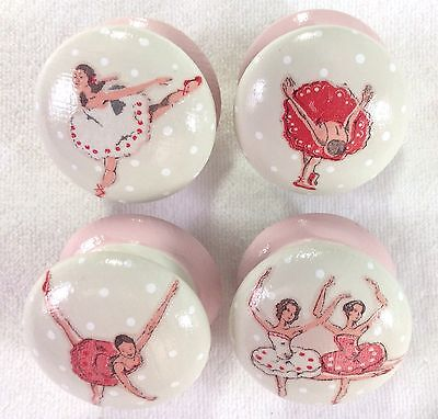 "Handpainted Cath Kidston Ballet Dancers Large Cream & Pink 2"" Drawer Knobs x 4"