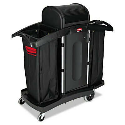 Rubbermaid High-Security Two Shelf Housekeeping Cart (Black/Silver) 9T78 NEW