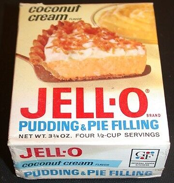 VINTAGE 1950's JELL-O PUDDING & PIE FILLING  Coconut Cream Full Box OLD STOCK !!
