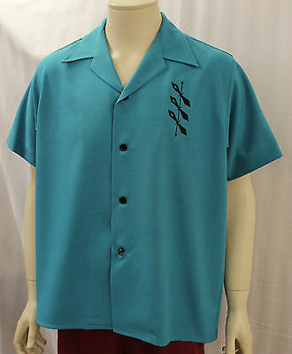 Mans 1950s Turquoise casual shirt Rockabilly 50s Rock and Roll R&R RnR Rockin