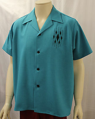 Mans 1950s Turquoise casual shirt Rockabilly 50s Rock & Roll R&R RnR Rocking