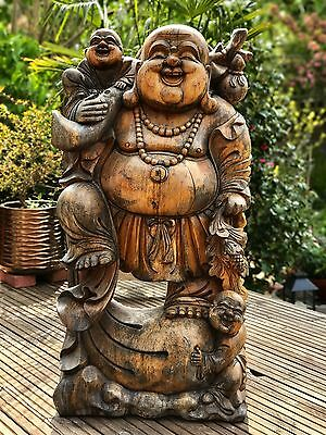Large Hand Carved Solid Teak Wooden Laughing Buddha Sculpture HEAVY!