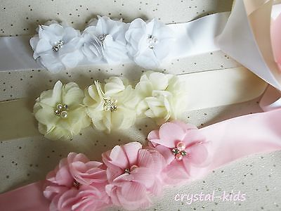 Pink Ivory White Chiffon Flower Girl Bridesmaid Christening Satin Sash Belt