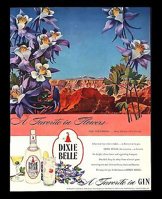 "Original 1946 ""dixie Belle Gin"" Columbine State Flower Of Colorado Art Print Ad"