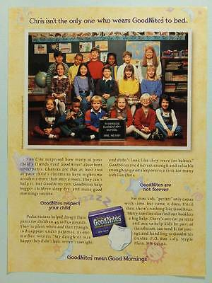 1996 Pull-Ups Goodnites Underpants Vintage Ad Page - Bed Wetting - Class Picture