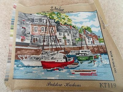 Fab Colourful Completed Anchor Tapestry PADSTOW HARBOUR Suitable For Framing