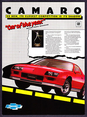 """1982 Chevrolet Camaro Z28 Coupe photo """"MT Car of the Year"""" vintage print ad"""