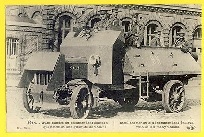 cpa WW1 Guerre 1914  AUTOMITRAILLEUSE ANGLAISE B 752 BRITISH ARMORED CAR Soldier