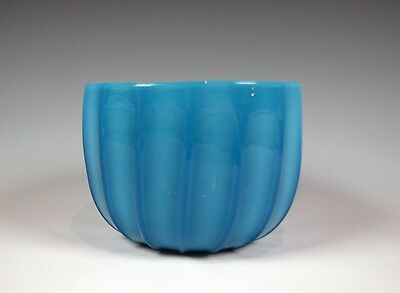 19th Century Antique Blue Opalescent Finger Bowl Mold Blown 16 Rib Glass