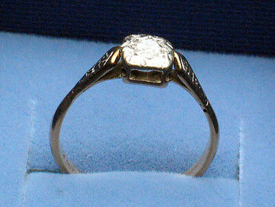 Vintage Antique Victorian Edwardian 9 ct Gold Diamond 20pt Solitaire Ring