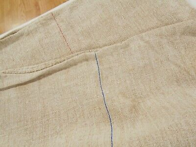 23x57 Vtg Antique RED BLUE STRIPE European HEMP LINEN Nubby FEED SACK GRAIN BAG