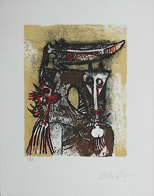 Wifredo Lam Original Lithograph Hand Signed Numbered Limited Double P 1975 Rare