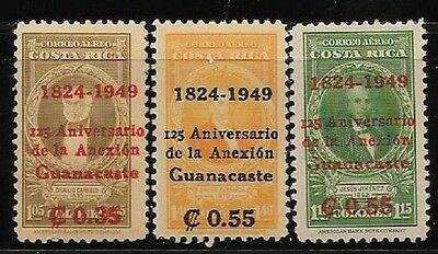 Costa Rica set of 3 stamps overprinted for 125 years of Annexation of Guanacaste