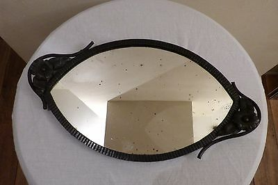 Rare Genuine Art Deco Wrought Iron Mirror Base Dressing Table or Drinks Tray