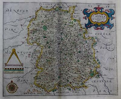 SHROPSHIRE BY WILLIAM HOLE & CHRISTOPHER SAXTON GENUINE ANTIQUE MAP c1610
