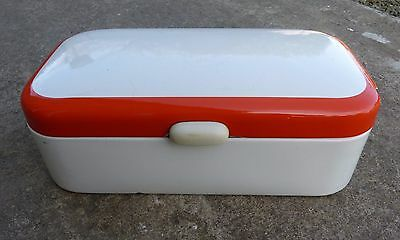 Genuine 1970s Vintage White/Orange Retro Enamel Dutch Bread Bin Box Graniteware