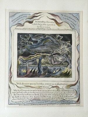 William Blake Rare Hand Coloured Engraving Plate 11 , Book Of Jobs ,1825 . Proof