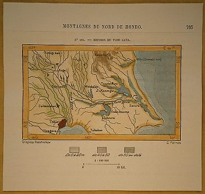 1882 Perron map TOKYO AND MOUTH OF TONE RIVER, JAPAN (#133)