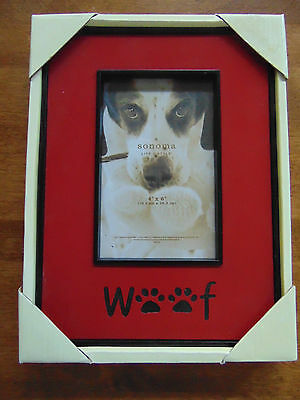 NIB  WOOF Picture Frame RED / BLACK Dog 4 X 6
