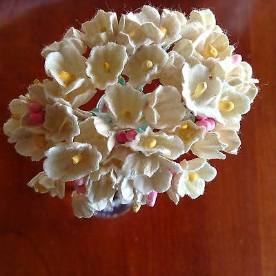 VTG Millinery Flower Forget Me Not Bunch Soft Yellow Cluster for Hat + Hair Sy1