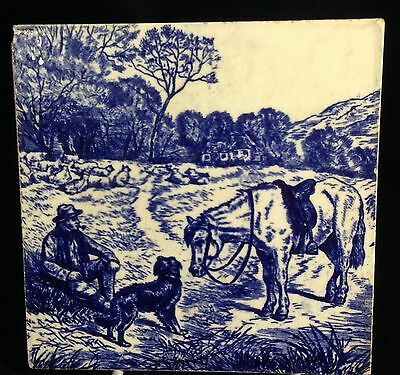"""Antique Blue & White 6"""" Ceramic Tile Horse & Rider by Brown Westhead Moore & Co"""