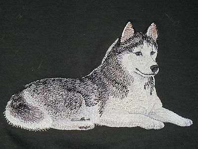 Embroidered Long-Sleeved T-Shirt - Siberian Husky C4977 Sizes S - XXL