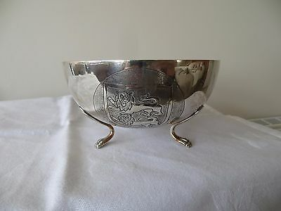 """BEAUTIFUL SOLID SILVER  1920's """"CYPRUS"""" BOWL, 113mm DIAMETER & 137.4g"""