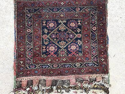 Beautiful antique Persian Kurdish bagface bag face Poshti pillow case 2x2 ft