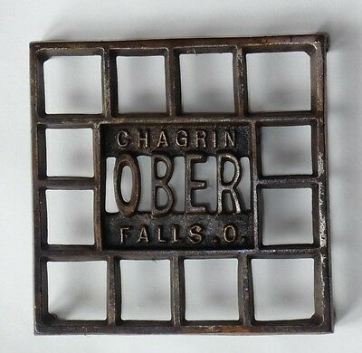 Antique, OBER  Full Size TRIVET ~SQUARE. Chagrin Falls, O. ( Ohio)
