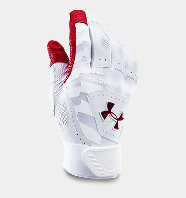 Under Armour Yard Baseball Batting Gloves Adult Small White And Red