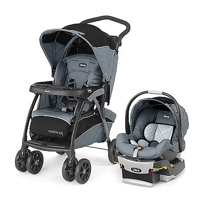 Chicco Cortina CX  Iron Gray Travel System w/ KeyFit Car Seat, Stroller, & Base