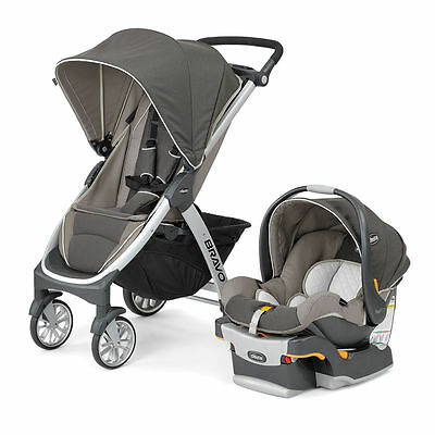 Chicco Bravo Trio 3 in 1 Single Travel System with 30 Car Seat and Base, Papyrus