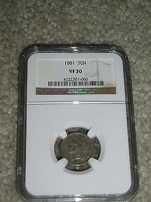1881  3 Cents Nickel, Ngc Vf 30, Slabbed, Certified, Nice Type Coin