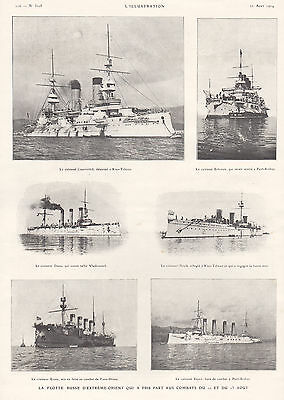 1904 Ad Print Russian Far-East Military Fleet Ships Askold Rurik Cesarevitch