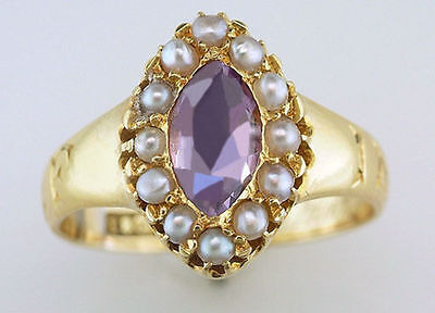 Vintage Antique Victorian Amethyst Pearl 18K Yellow Gold Mourning Memorial Ring