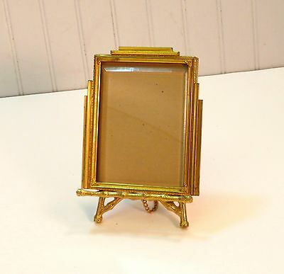 Antique Art Deco Gold Metal Small Picture Frame & Faux Bamboo Easel Stand 4 x 5""