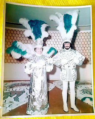 Vtg MARDI GRAS Print PHOTO Jane & Jimmy CAMPAGNA King & Queen NEW ORLEANS 70's