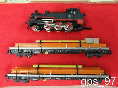 Z - Marklin 8895 Freight Train Set -- BR74 Steamer & 2 Loaded Stake Cars - LNIB