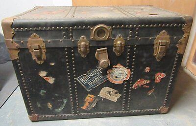 Vintage Steamer Trunk With Travel Stickers