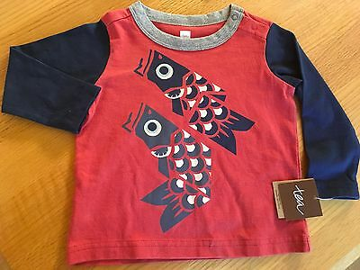 NWT Tea Collection Red/Blue Long Sleeved Fish T-shirt Boys size 6-12 Months