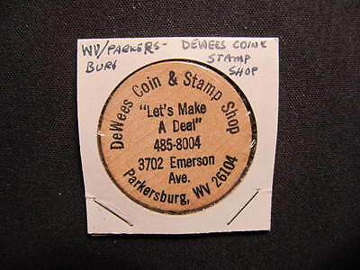 Parkersburg, West Virginia Wooden Nickel token - DeWees Coin & Stamp Wooden Coin