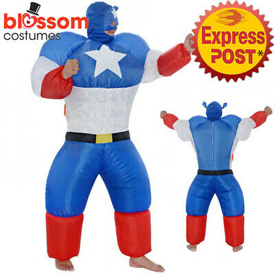 K354 Captain America Adult Mens Fan Inflatable Costume Suit Superhero Hero Funny