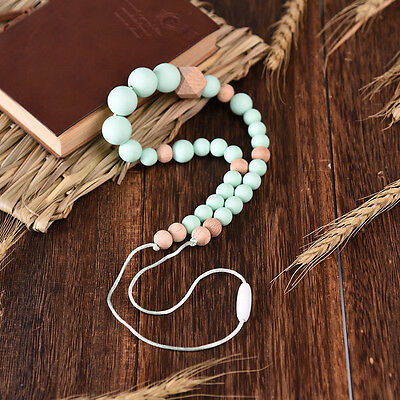BPA Free Silicone Teething Necklace Baby Teether Bead Necklace For Mom To Wear