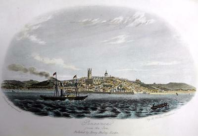 PENZANCE  CORNWALL  GENUINE ANTIQUE STEEL ENGRAVING WITH HAND COLOUR c1832