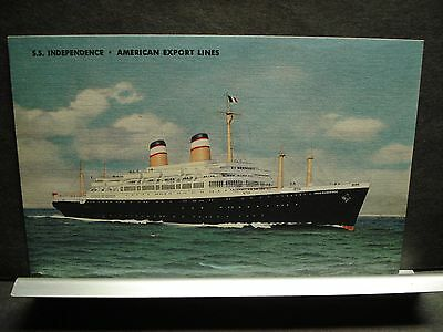 SS INDEPENDENCE, AMERICAN EXPORT LINES Naval Cover unused post card