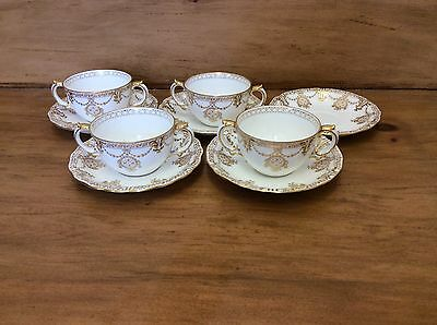 Vintage Royal Crown Derby Tiffany & Co Two Handled Cups & Saucers