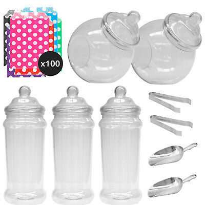 Large Jars Sweet Shop Candy Buffet Wedding Kids Party Kit Scoops Tongs Polka Bag