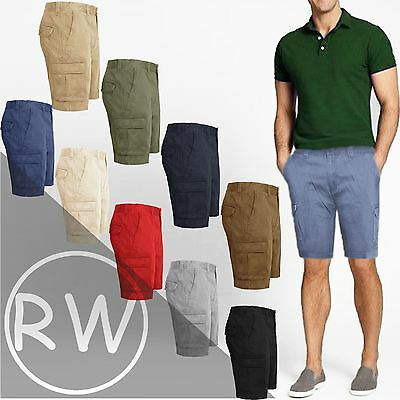 dd0042a9 New Mens Knee Length Chino Shorts Cargo Combat Pants Cotton Casual Summer  32-46