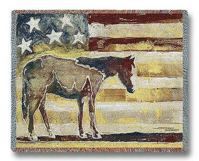 Throw Tapestry Afghan - Red, White & Blue Horse 3538