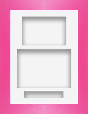 """8.5"""" x 11.5"""" Strong Pink Portrait Deep Shadow Box Photo Frame 3 Mount"""